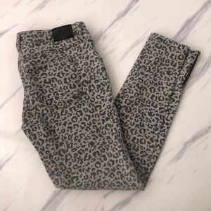 Anine Bing Leopard Print Ankle Zip Skinny Jeans